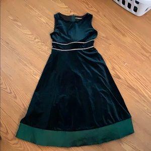 Green velvet formal dress
